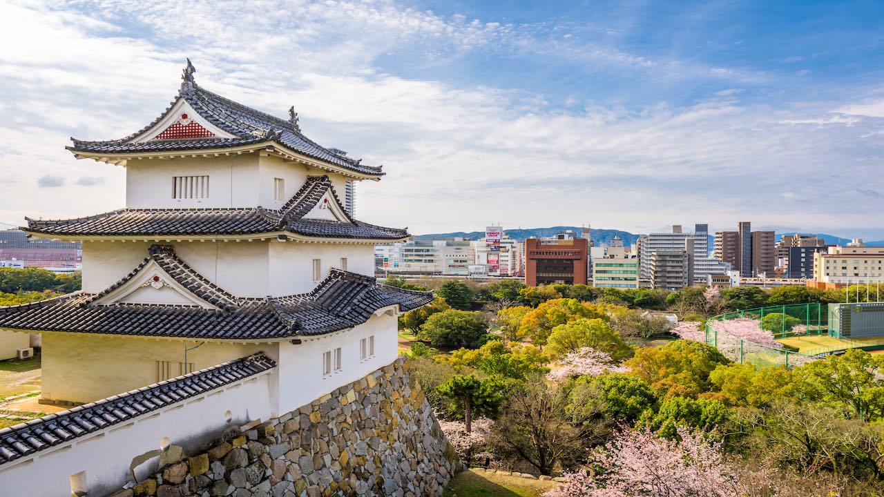 Akashi, Hyogo, Japan castle tower and downtown cityscape with cherry blossoms in spring.